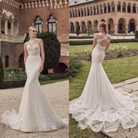 Wholesale Cut Out Saw - 2016 Sexy Open Back Mermaid Wedding Dress Vintage Lace Sheer Bateau Neckline See Through Cut Out Back Sleeveless Bridal Gowns Sweep Train