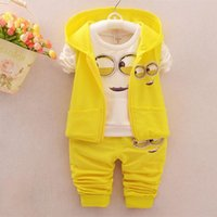 Wholesale Yellow Minion Kids T Shirts - 2017 Spring Baby Girls Boys Minion Suits, Infant Clothes Sets Kids Vest+T Shirt+Pants 3 Pcs sets Children Suits