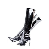 Sexy Silver Mirror Leather puntiagudo Botines largos para mujeres Stiletto Heel Fashion Runway Nightclub Botas Mujer