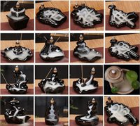 Wholesale aromatherapy supplies - Smoke Backflow Incense Burners Tower Incense Censer Base Ceramics Creative Decoration Aromatherapy Supplies Home Decor Adornment+10pcs cones