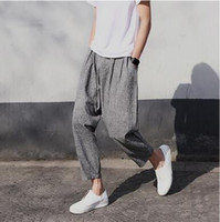 Men black turnip - Men s Casual Pants Cotton Pants Tide Japanese Retro Big Turnip Pants Men Haren Code Q