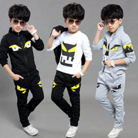 Wholesale Baby Tracking - Boys 3 Pcs Tracking Suits 2017 Spring Autumn Little Monster Cartoon Hooded Jackets + T-Shirts + Pocket Trousers Sets Baby Cotton Clothes