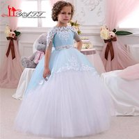 Wholesale Cheap Cute Puffy Dress - Beautiful 2016 Wedding Flower Girls' Dresses Blue and Ivory Lace Ball Gown Tulle Puffy Cute Appliques Long Cheap Girls Gown Liyatt