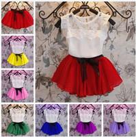 Wholesale Cute Chiffon Skirts - 7 Color baby Lace Chiffon bowknot Girls dress suits Summer Lace cotton T-shirt + Short skirt 2 pcs suit children clothes