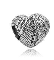Wholesale Wholesale Wings Feathers - Wholesale 10pcs Heart Shaped Feather Wings 925 Silver Charm Bead European Charms Beads Fit Pandora Bracelets DIY Jewelry Christmas Xmas