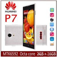 Wholesale Dual Sim 3g 5inch - Cheap new Hot sale HUAWEI P7 phone MTK6592 Octa core 2GB RAM 32G ROM WCDMA 3G GPS 5inch IPS 13MP Camera android 4.4 Smart phone Clone copy