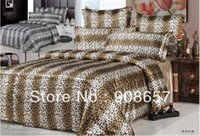 Wholesale Leopard Skin Duvet - luxurious imitated silk fabric girls bedding set brown leopard skin printed bed in a bag queen full duvet covers sets bed linens