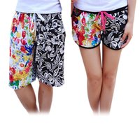 Wholesale Beach Shorts For Couples - Wholesale-Personality for lovers beach pants board shorts couples quick-drying pants fashion froral printed for women men