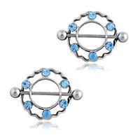 Wholesale Nipple Pierce - 4pcs lot Blue crytal Nipple Piercing Mamilo, Sexy Women Nipple Ring Body Jewelry Unique Nipple Piercings Rings Jewellery