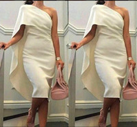 Wholesale Cheap One Sleeve White Dress - 2017 Short Cheap Women Cocktail Dresses One Shoulder Sheath Prom Dresses With Cape Tea Length Party Dress Plus Size Formal Homecoming Gowns