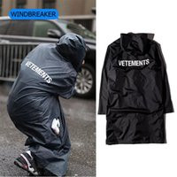 Wholesale Mens Waterproof Rain Coats - Hot 2016 New Mens 16SS Oversize Raincoat Waterproof Jackets for Men Rain Coat Hip Hop Windbreaker Outdoor Black Jacket with Hoodie C08