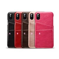 Wholesale Plastic Business Cards Box - ID Card Slot Leather Hard Plastic Case For Iphone X 5.8inch Card Box PU PC Vertical Veneer Gluing Fashion Back Skin Cover Business Vintage