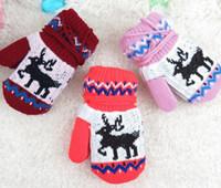 Wholesale Crochet Mitten Boys - 2017 Christmas Winter Mittens Kids Mittens Baby Gloves Boys Girls Knitted Mittens Glove Mittens Children Mittens Crochet Gloves Warm Mittens