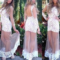 Wholesale Long Gowns For Women - Cheap White Lace Mermaid Prom Dresses 2017 Long Sleeves Tulle See Through Formal Evening Party Gowns For Women
