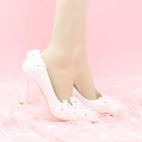 Wholesale simple floral prom dresses - Elegant Simple Flower Bridal Shoes Lace Flower Bridesmaid Shoes White Color Women Dress Shoes Prom Pumps Pointed Toe