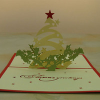 Wholesale origami christmas resale online - Christmas Star Handmade Kirigami Origami D Pop UP Greeting Cards Invitation Postcard For Birthday Christmas Party Gift
