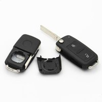 Wholesale Vw Golf Blank Key - 2016 new 2 button flip folding remote key shell case for VW new Tiguan. Golf, Passat, Bora,New Jetta 202AD blank key FOB free shipping