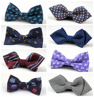 Wholesale Tuxedo Plaid Bow Tie - Fashion NEW Children Baby Boys Bowtie Imitation Silk Formal Tuxedo Bow Tie Kids Printed Wedding Necktie accessories 68 Color Free Shipping