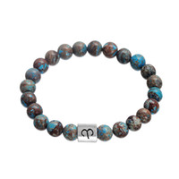 Wholesale Celtic Wholesale Products - New Product Zodiac Alloy Charm Bangles Trending Chocolate & Blue Turquoise Stone Beads Bracelet Constellation Pattern Wristbands