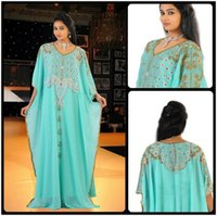Wholesale Blue Coral Loose - 2016 New Arabic Middle East Evening Pageant Gowns V Neck Gold Appliques Loose Style Kaftan Dubai Plus Size Mother Formal Gowns BA1376