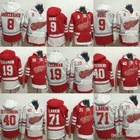 Wholesale Detroit Hoodie - Factory Outlet 2017 new arrivails-Detroit Red Wings Justin Abdelbader Howe Yzerman Larkin White Red ice hockey jerseys Hoodies Free shipping