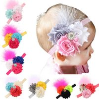 Wholesale newborn baby girl accessories for sale - Newborn Baby girls Headbands flowers Kids Hairband Children hair fashion Rhinestone Bands Infant elastic Hair accessories Free Shiping KHA34