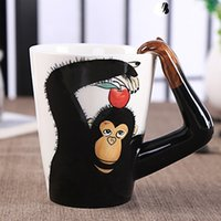 Wholesale Hand Painted Art Ceramics - Creative 3D Art Porcelain Mug Hand-painted Zoo Ceramic Coffee Cup Africa Style