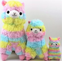 Wholesale Cutest Japanese Kids - Japanese Striped Rainbow Alpacasso Cute Alpaca Plush Toys Soft PP Cotton Stuffed Animals Alpaca Gifts for Kids 35cm 45cm MYF0727