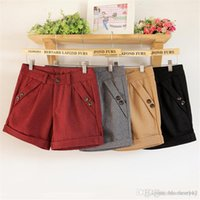 Wholesale Wool Shorts Plus Size - Multi colors plus size wool blend shorts for women winter autmn regular basic size S to 3XL