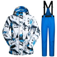 Wholesale Orange Snowboarding Jackets - New Outdoor Ski Suit Men's Windproof Waterproof Thermal Snowboard Snow Male Skiing Jacket And Pants sets Skiwear Skating Clothes