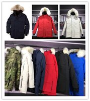 Wholesale canada parka down men - 2018 Top Copy With wholesale price Canada Brand Men's Expedition down Jacket Hoodies Fur Fashionable Winter Parka Hot Sale