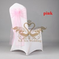 Wholesale Wedding Sashes For Chairs Cheap - Cheap Price Lycra Spandex Chair Cover And PINK Color Organza Chair Sash For Wedding Hotel Decoration