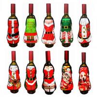 Wholesale Xmas Aprons - Christmas Apron Wine Bottle Cover Xmas Santa Claus Table Decoration Elk Snow Man Deer Wine Champagne Decoration Party Favor CCA7587 100pcs