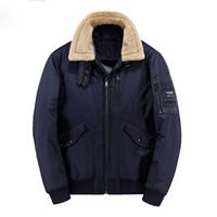 Wholesale Fur Collar Jacke - Winter jacke Parkas Warm Winter Coat Men Bomber Jacket Air Force Pilot Jacket Parka Fur Collar Tactical Jacket