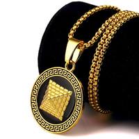 Wholesale Golden Pendant Man - Fashion Mens Necklaces Golden Pyramid Pendant 18K Gold Plated Chains Hip Hop Jewelry Design Punk Rock Micro Men Long 75CM Chain