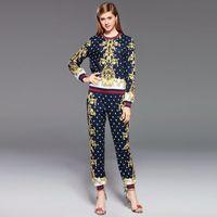Wholesale Ladies Suit Pants Shirt - Women Sets Lady Full Sleeve T-shirt + Elastic Waist Pants 2pcs Suits Girls Star Print Flower Ouftits 2017 Autumn Women Clothing W73
