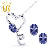 Wholesale Natural Blue Tanzanite - Solid 925 Sterling Silver Pendant Earrings Set 1.95Ct Oval Blue Natural Tanzanite Wedding Jewelry Sets for Brides GemStoneKing