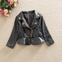 Wholesale Leather Jacket Black Wholesale - New Children's Outwear Tench coats Fashion Kids Baby Girls PU Leather Coats Child Clothing Long Sleeve Black Kid's Jacket Girls Coats A5699