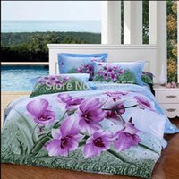 Wholesale King Size Coverlets For Beds - new orchid flower green leaves cotton comforter quilt bed covers for girls home decor full queen king size coverlet bedding sets