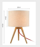 Wholesale Tripod Table Light - Size DIA18CM*H42CM Tripod Triangle Wood Base Fabric Lampshade Table Lamps Desk Lights Indoor Lighting Fixtures for Bedroom Living Room