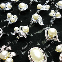 Wholesale Three Hearts Jewelry - 15Pcs Fashion Mix Lot Simulated Pearl Rhinestone Silver Plated Rings For Women Jewelry Whole Bulk Packs LR028 Free Shipping