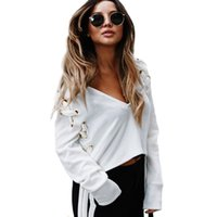 Wholesale Stylish Long Shirts For Women - Women Solid Lace Up Crop Tops Loose V-Neck Personal Ties Blouse For Female Stylish Long Sleeve T-shirt RF0642