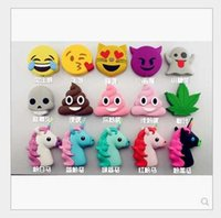 Wholesale Devil Wholesale - Mix Style Emoji Chargers 2600mah powerbank soft PVC unicorn poop devil horse skull power bank smart phone charger with box