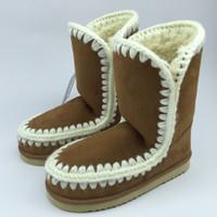 Wholesale Purple Suede Platform - Eskimo Snow Mid-calf Boots Faux Suede And Fur Materials Super Warm 2.5cm Platform EVA Sole Shoes For Women
