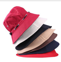Wholesale Roping Hats - Scalable Rope Fishing Hats Summer Women And Men Foldable Outdoor English Sun Beach Flat Bucket Hat Basin Cap Fashion Accessories