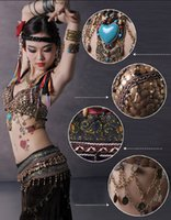 Wholesale Black Belly Dance Bra - Tribal Style Belly Dance Costume 2 Pics Bra&Skirt 34B C 36B C 38B C XL Bra D Cup