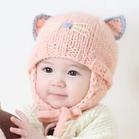 çocuklar kedi şapkaları toptan satış-Çocuklar örgü şapkalar Beanies Güzel Karton kedi kulakları El Yapımı Sıcak koruma Annelik 2017 Kış Pamuk kasketleri 6-18months toptan