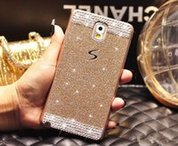 samsung a3 telefon toptan satış-Lüks Bling Glitter Elmas Taklidi Sert Plastik PC Geri Telefon Kapak Samsung Galaxy S5 S6 Kenar A3 A5 A7 Not 3 4 5 Grand Başbakan G530