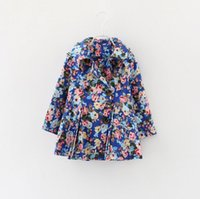 Wholesale 2016 autumn winter kids outwear fashion girl tench coats floral windbreaker blue color p l