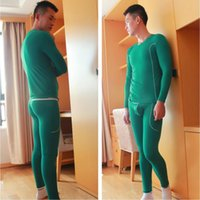 Wholesale Thermal Underwear Set Sale - Wholesale-Hot sale Mens Thermal Underwear Sets Men cueca Bamboo firber Long johns thermo sexy Underwear Sport GYM Wangjiang Brand clothing